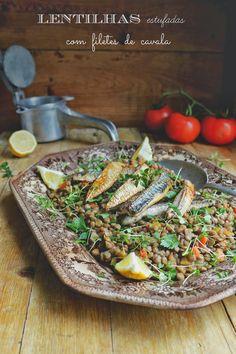 Hoje para jantar ...: Lentilhas estufadas com filetes de cavala