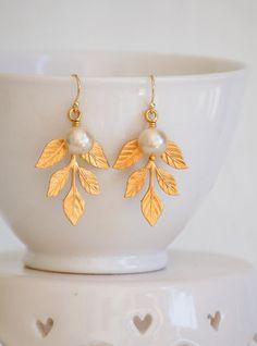 Gold Leaf  EARRINGS Pearl , $24.00