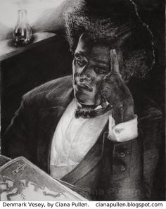 On July 2, 1822 Denmark Vesey was hanged for his role in organizing a Charleston slave revolt, with estimates of those involved ranging as high as 9000. Of those, 131 were charged with conspiracy, 67 convicted, and 35 hanged. The above image of Vesey is by Ciana Pullen, a Charleston artist. Click through for more images and to read her account of the revolt. #TodayInBlackHistory