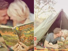 ADORABLE vintage camping engagement