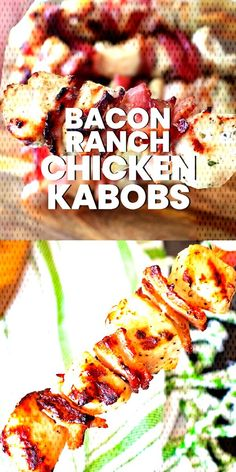 Bacon Ranch Chicken Kabobs These easy Chicken Kabobs are stuffed with crispy bacon and marinaded in a ranch marinade. They are grilled to perfection! This Chicken Kabob recipe makes a quick weeknight meal or. Chicken Kabob Recipes, Recipe Chicken, Marinade For Chicken Kabobs, Chicken Cabobs, Grilled Chicken Skewers, Grilled Food, Kebab Recipes, Sides With Chicken, Chicken Skewers In Oven