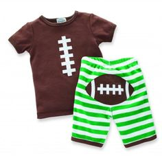New 2013 Mud Pie Size 12-18 Months Football 2pc Set Boys, Mud Pie's Little Sport collection gets into the game with this sporty baby boy outfit! The 2 piece cotton set features a football stitching on top and green and white shorts with brown trim and footba..., #Apparel, #Pant Sets