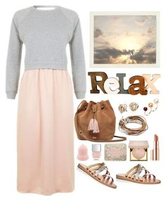 """Relax"" by musicfriend1 ❤ liked on Polyvore featuring Topshop, Joie, UGG, Lizzy James, Delfina Delettrez, Blue Nile, Estée Lauder, Stila and Nails Inc."