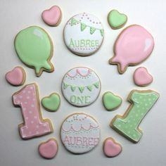 First birthday sugar cookies with Royal icing