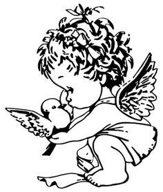 Veloursmotiv niedlicher  Engel mit Vögelchen ca...