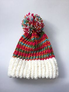 Colorful Child Knitted Hat with Pom Pom, Hot Pink Colorful Winter Hat, Colorful Child Girl Loom Knit Hat Gift, Children Knitted Hat