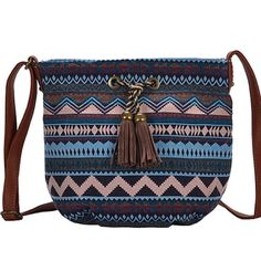 """Tan Geometric Tassel Crossbody Bag This fabulous bag has a boho flair                         11""""W x 10""""H x 4""""D     26"""" strap length max              Outer is canvas and lining is 100% polyester   Zip closure one zip pocket inside and two slip pockets Antik Kraft  Bags Crossbody Bags"""
