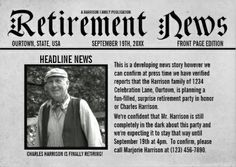 Newspaper Front Page Template Best Of 9 Newspaper Front Page Template Free Word Ppt Eps Retirement Presents, Retirement Celebration, Retirement Parties, Early Retirement, Retirement Planning, Party Planning, Teacher Retirement, Retirement Announcement, Newspaper Front Pages
