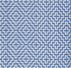 A global inspired fabric in seablue and white. Suitable for indoor or outdoor drapery, curtains, decorative pillows, outdoor seat cushions, furniture covers an