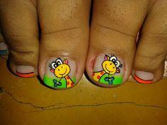 Tiernas! Pedicure Designs, Toe Nail Designs, Nail Polish Designs, Pedicure Ideas, Pretty Toe Nails, Fancy Nails, Cute Nails, Summer Toe Designs, Manicure