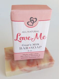 Love Me Soap ~ Aromas of White Lily Geranium & Jasmine ~ All Natural Handmade 3.5oz