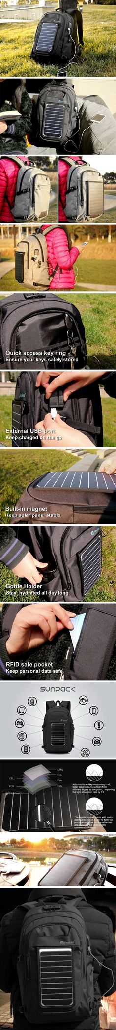 The Flextech SunPack backpack, is the most useful in their series of products. Giving you storage for your devices as well as the means to charge them. If you hate electricity bills or having to look for plug-points, and you love backpacks, the SunPack may just be the best backpack for you. With Flextech's powerful, weatherproof solar panel integrated into it, just being outdoors is enough to generate electricity! BUY NOW!
