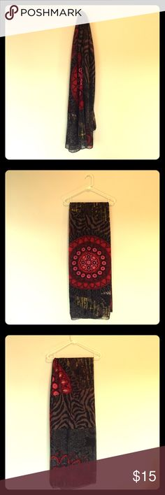 Desigual Red/Gold Scarf. One Size. Red/gold/brown scarf by Desigual. Rectangular shape. Lightly worn. One Size. Desigual Accessories Scarves & Wraps