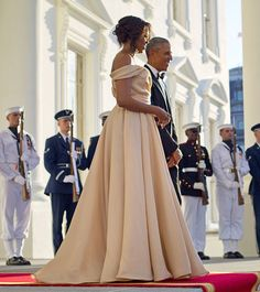 Michelle Obama Stuns in Naeem Khan at Nordic State Dinner from InStyle.com