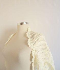 White Shrug Bolero shrug Stole Capelet shrug warm by modelknitting, $39.90
