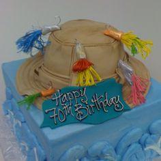 Fishing hat cake! Fishing Theme Cake, Hat Cake, 80th Birthday, Wedding Events, Weddings, Themed Cakes, Frosting, Party Themes, Cake Decorating