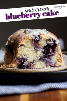 This Sour Cream Blueberry Bundt Cake is an easy and super moist and tender bundt cake bursting with fresh blueberries! #cookiesandcups #blueberrycake #blueberries #bundtcake #sourcreamcake Best Dessert Recipes, Easy Cake Recipes, Candy Recipes, Just Desserts, Pie Recipes, Baking Recipes, Spring Desserts, Desert Recipes, Baking Ideas