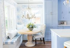 blue and white classic kitchen reveal. Reeady to see a French country farmhouse inspired kitchen makeover? I'm sharing before and afters of this vintage Coin Banquette, Banquette Seating In Kitchen, Corner Seating, Dining Nook, Corner Bench, Built In Dining Room Seating, Dining Bench, Light Blue Kitchens, Banquet Seating