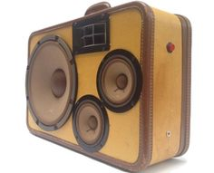 """Upcycling again! """"YES""""  Suit case Speakers what better way to go?? Loven' it !! Michele~♥~"""