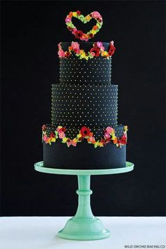 Pretty Black wedding cake from the Wild Orchid Baking Co
