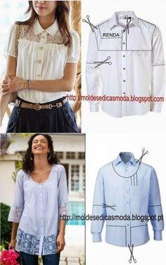 61 super Ideas for sewing clothes recycling moda 61 super Ideas for sewing clothes recycling moda Diy Clothes Refashion, Shirt Refashion, Diy Shirt, Fashion Sewing, Diy Fashion, Trendy Fashion, Remake Clothes, Sewing Blouses, Diy Kleidung
