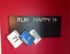 A place to display my race bibs for the year:) I need three more races in 2014!!