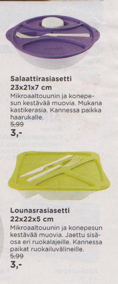 Anttilasta tai Kodin Ykkösestä Plastex salaattirasia tai lounasrasia. Nämä olisivat äärimmäisen käteviä molemmat. Värillä ei ole väliä :)