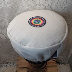 djembe drum cover 12 inch / drum head cover 12 inch off white with patch
