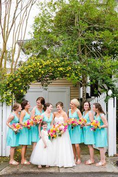 light turquoise bridesmaid dresses | Dana Cubbage