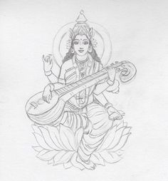 Saraswati Maa is one among the trinity (Tridevi) of Saraswati, Lakshmi, and Parvati.to know about to draw Goddess Saraswati Maa pencil drawing step by step. Abstract Pencil Drawings, Pencil Sketch Drawing, Art Drawings Sketches, Sketch Painting, Cool Drawings, Worli Painting, Saraswati Painting, Tanjore Painting, Krishna Painting