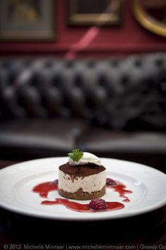 Snickers Cheesecake & Raspberry Coulis