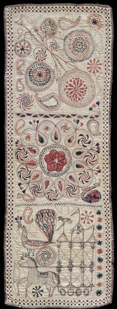 Kantha (Embroidered Quilt) Artist/maker unknown, Bengali Geography: Made in West Bengal, India, Asia or Bangladesh, Asia Made in Undivided Bengal, Asia Date: 19th century Medium: Cotton plain weave with cotton embroidery in back, buttonhole, chain, darning, satin, split, running, arrowhead, eye, zig zag with backstitch variation, and dot stitches Dimensions: 22 1/2 x 8 1/4 inches (57.2 x 21 cm)