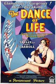 Vintage Film Poster - The Dance of Life, 1929 - Burlesque - Showgirl - Paramount Pictures Movie