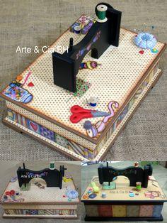 artesanato caixa costura mdf madeira