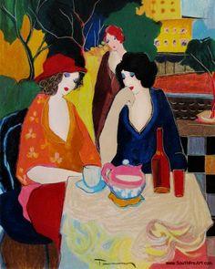 artist tarkay itzchak | ITZCHAK TARKAY - Untitled Tea or Wine - HS# PRINTER'S PROOF COA Israel ...