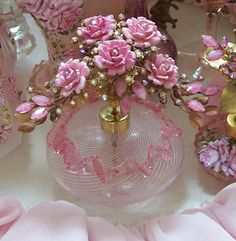 Light Pink Ruffle Venetian Glass Perfume Bottle Bouquet of Roses