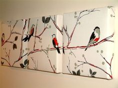 Set Of 3 Contemporary Modern Designer Retro Print Funky Red Black White Winter Tree Branch Robin Bird Wall Hanging Canvases Fabric Wall Art by MARIESCOSYCUSHIONS on Etsy