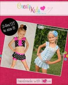 This little top is perfect for dance and gymnastics practice, or even your next competition! Featuring double-ruffle sleeves with matching bodice ruffle and two length options - full length and crop top! We even include directions for those cute little bow embellishments, perfect for any girly girl dancer or gymnast! This pattern must be made using a spandex or lycra fabric only for the perfect fit and stretch.