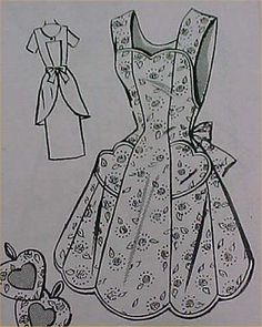 Vintage-Bib-Full-Size-Apron-Pattern-40s-Details-Sewing-Fabric-Project-Size-Large