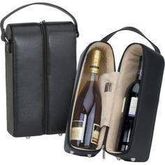 $44.55-$60.00 Bellino Leather Wine Case - Black - The perfect packaging for wine  A plush padded interior gives up to two bottles superior protection while preserving the elegant presentation. http://www.amazon.com/dp/B000X2YTXO/?tag=pin2wine-20