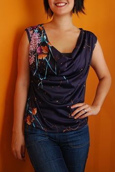 draped neck top made from a vintage muumuu Altering Clothes, Refashioning Clothes, Refashioned Clothing, Diy Clothes Tops, Sewing Shirts, Muumuu, Shirt Refashion, New Outfits, Diy Fashion