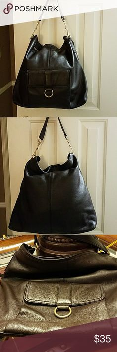 Talbots Handbag Brown leather with gold hardware; outside pocket with magnetic closure; inside zipper area and two pockets; very spacious; approximately 16 inches wide and approximately 14 inches long Talbots Bags