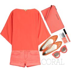 Coral style by simona-altobelli on Polyvore featuring Michael Kors, HUGO, CÉLINE, Butter London, Christian Dior, MyStyle, polyvorecontest and coolcoral