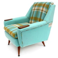 Revival Furniture is Really Rad'… Revival Turquoise chair - recycled from wool blankets!Revival Turquoise chair - recycled from wool blankets! Furniture, Mid Century Modern Furniture, Modern Style Furniture, Vintage Wool Blanket, Small Living Room Chairs, Overstuffed Chairs, Reupholster Chair, Retro Chair, Cool Furniture