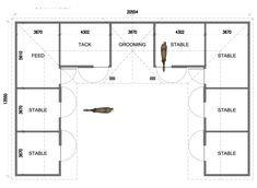 U-shaped 6 Stall Horse Barn. Except I would put the tack in the other corner and then put another stall where the tack room is