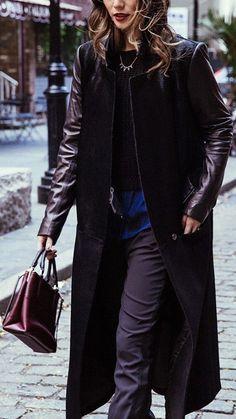Calf Hair & Wool Leather-Trim Coat
