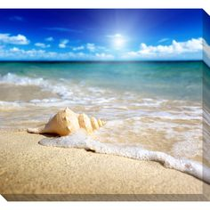 A large gallery-wrapped canvas depicting a relaxing beach scene is the perfect art for your home. The print is a giclee reproduction of an original and will impress even the most discerning critic. Wire and mounting hardware are pre-installed.