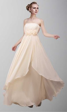 Strapless Empire Line Long Prom Dress KSP092