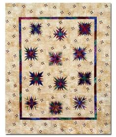 "Starry Night Quilt Kit- Paper Piecing Patterns & Fabrics – 88"" x 108"" Quilt -"