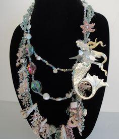 Items similar to Abalone Mermaid Statement Necklace - Mermaid Costume Accessory on Etsy Mermaid Jewelry, Mermaid Necklace, Beach Jewelry, Beaded Necklace, Unique Jewelry, Bead Embroidery Jewelry, Beaded Embroidery, Beaded Starfish, Shell Collection